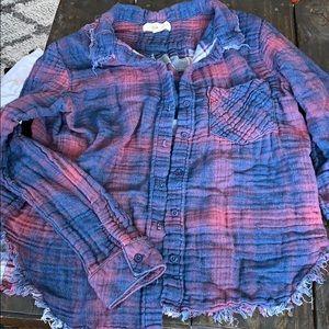Cloth & Stone raw hem flannel shirt